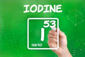 Symbol for the chemical element iodine