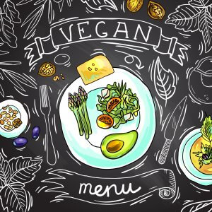 Beautiful hand drawn food illustration vegan menu on the chalkboard
