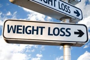 weight loss sign with arrow